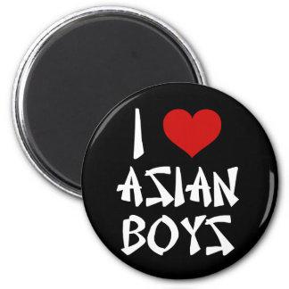 Amo a muchachos asiáticos imán redondo 5 cm