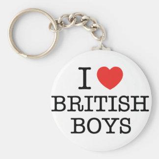 Amo a muchachos británicos llavero personalizado