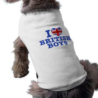 Amo a muchachos británicos playera sin mangas para perro