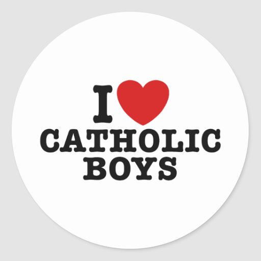 Amo a muchachos católicos pegatina redonda