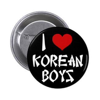 Amo a muchachos coreanos pin redondo de 2 pulgadas