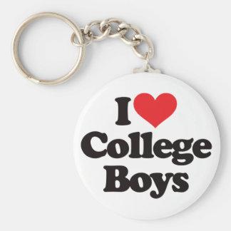 Amo a muchachos de universidad llavero redondo tipo pin