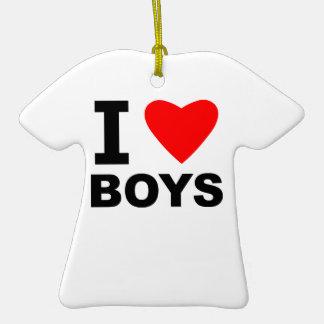Amo a muchachos adorno de cerámica en forma de camiseta