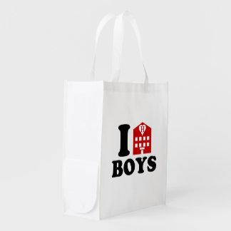 Amo a muchachos del hotel bolsa reutilizable