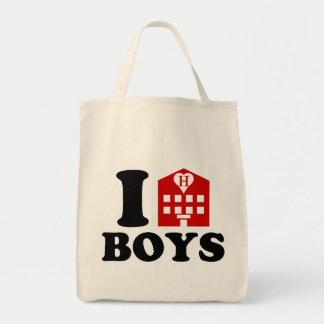 Amo a muchachos del hotel bolsa tela para la compra