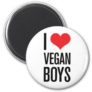 Amo a muchachos del vegano imán redondo 5 cm