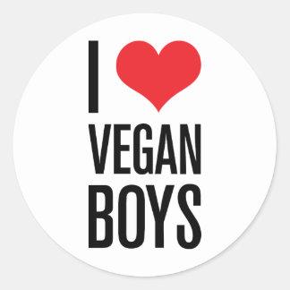 Amo a muchachos del vegano pegatinas redondas