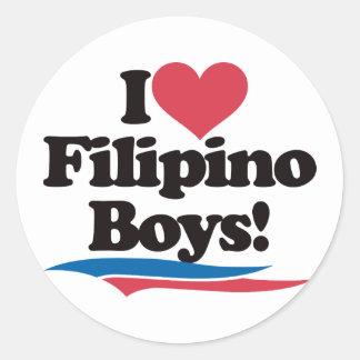 Amo a muchachos filipinos pegatina redonda
