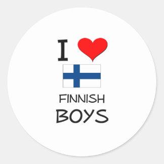 Amo a muchachos finlandeses etiquetas redondas
