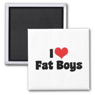 Amo a muchachos gordos imán cuadrado