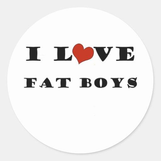 Amo a muchachos gordos pegatinas redondas