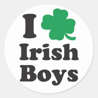 Amo a muchachos irlandeses etiqueta redonda