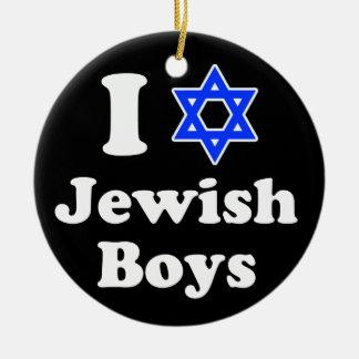 Amo a muchachos judíos adorno navideño redondo de cerámica