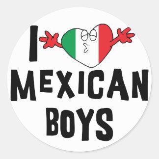 Amo a muchachos mexicanos pegatinas redondas