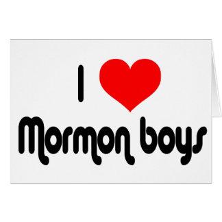 Amo a muchachos mormones tarjeta de felicitación