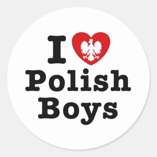 Amo a muchachos polacos pegatina redonda