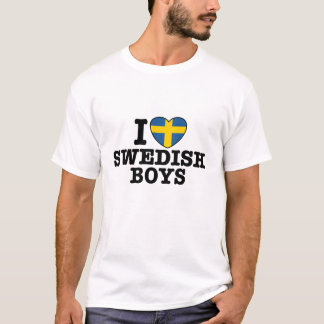 Amo a muchachos suecos playera