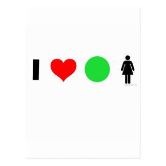 Amo a mujeres fáciles postal
