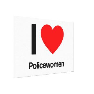 amo a mujeres policía impresión en lona estirada