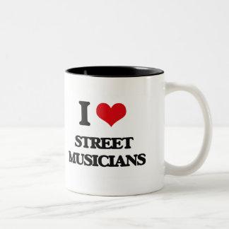 Amo a músicos de la calle taza de café