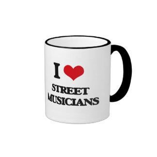 Amo a músicos de la calle tazas de café