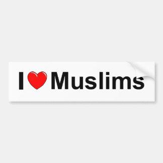Amo a musulmanes (del corazón) pegatina para auto