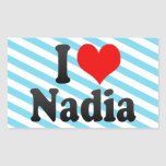 Amo a Nadia Rectangular Pegatina