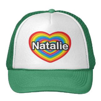 Amo a Natalie. Te amo Natalie. Corazón Gorro