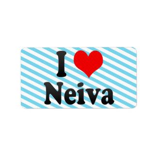 Amo a Neiva, Colombia Etiqueta De Dirección