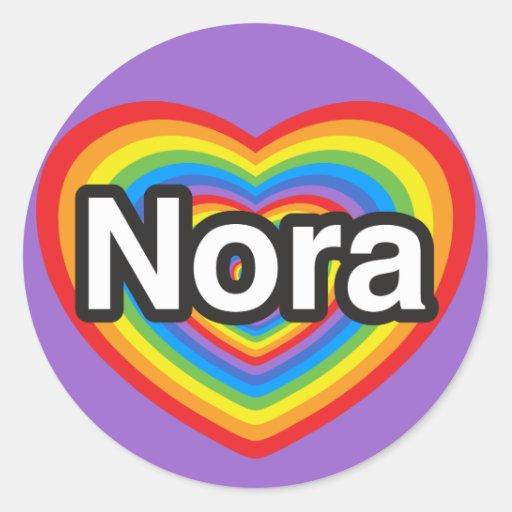 Amo a Nora. Te amo Nora. Corazón Pegatina Redonda