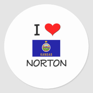 Amo a NORTON Kansas Pegatina Redonda
