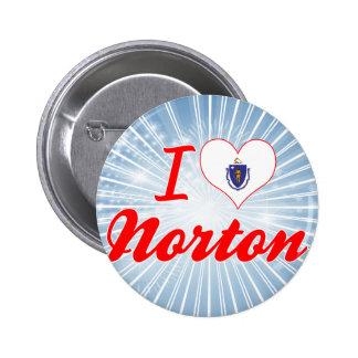 Amo a Norton, Massachusetts Pin Redondo 5 Cm