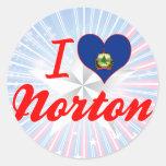 Amo a Norton, Vermont Etiquetas Redondas