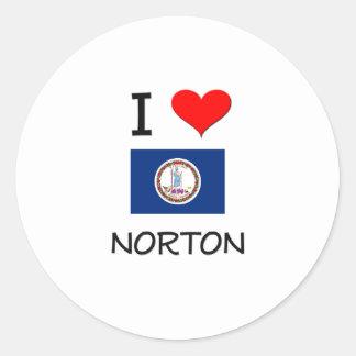Amo a Norton Virginia Pegatina Redonda