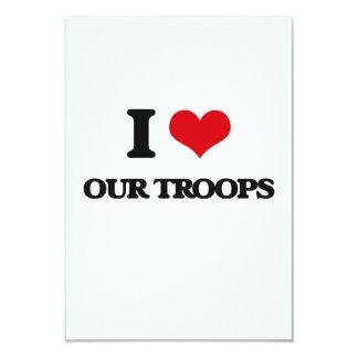 """Amo a nuestras tropas invitación 3.5"""" x 5"""""""