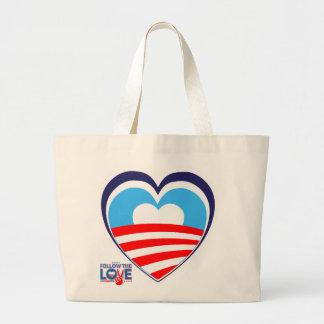 Amo a Obama - ahora elija a Obama Bolsa Tela Grande