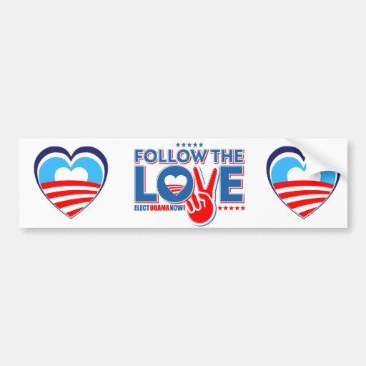 Amo a Obama - ahora elija a Obama Pegatina Para Auto