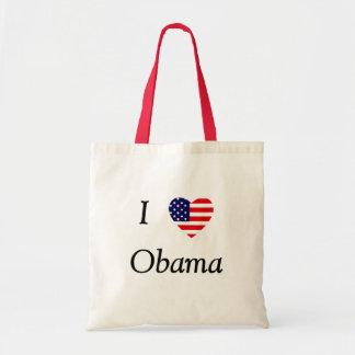 Amo a Obama (el corazón de la bandera) Bolsa Tela Barata