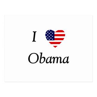 Amo a Obama (el corazón de la bandera) Tarjetas Postales