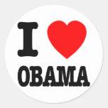 Amo a Obama Pegatina Redonda