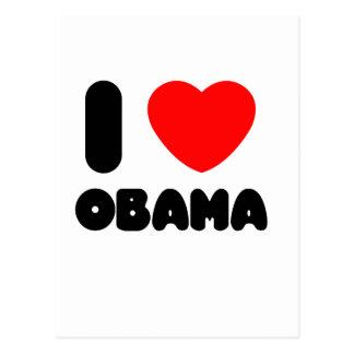 amo a obama tarjeta postal