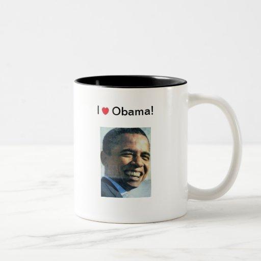 ¡Amo a Obama! Taza De Café De Dos Colores