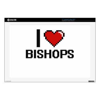 Amo a obispos calcomanías para portátiles