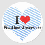Amo a observadores de tiempo pegatina redonda