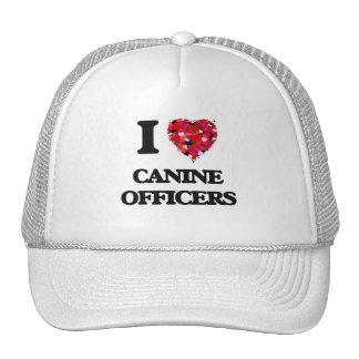 Amo a oficiales caninos gorros bordados