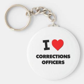 Amo a oficiales de correcciones llavero redondo tipo pin