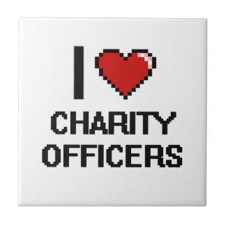 Amo a oficiales de la caridad azulejo cuadrado pequeño
