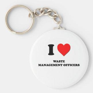 Amo a oficiales de la gestión de desechos llavero personalizado