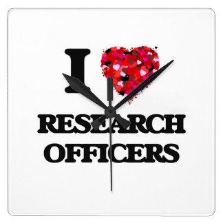 Amo a oficiales de la investigación reloj cuadrado