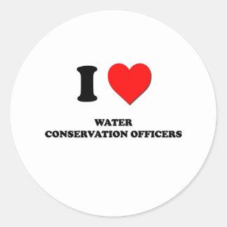 Amo a oficiales de la protección de agua etiqueta redonda